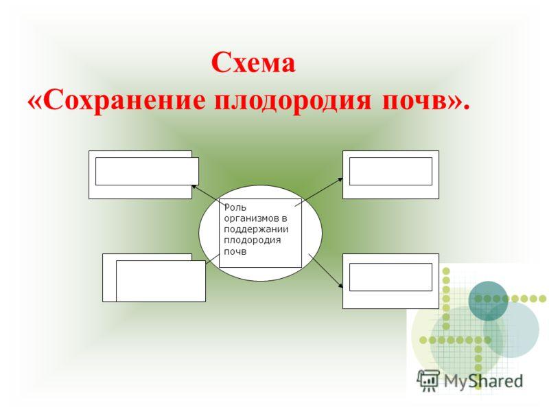 Схема «Сохранение плодородия почв». Роль организмов в поддержании плодородия почв
