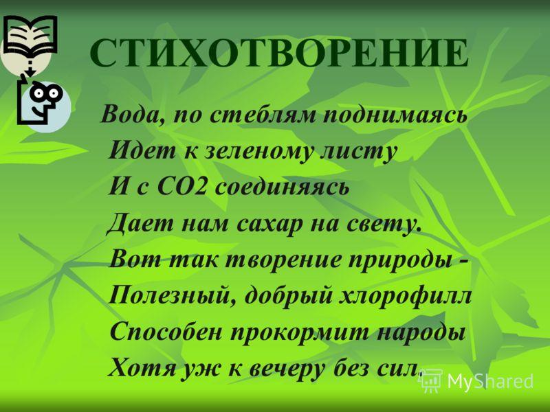 СТИХОТВОРЕНИЕ Вода, по стеблям поднимаясь Идет к зеленому листу И с СО2 соединяясь Дает нам сахар на свету. Вот так творение природы - Полезный, добрый хлорофилл Способен прокормит народы Хотя уж к вечеру без сил.