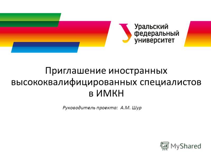 Приглашение иностранных высококвалифицированных специалистов в ИМКН Руководитель проекта: А.М. Шур