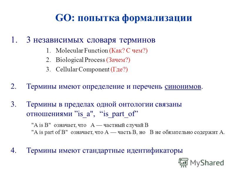 1.3 независимых словаря терминов 1.Molecular Function (Как? С чем?) 2.Biological Process (Зачем?) 3.Cellular Component (Где?) 2.Термины имеют определение и перечень синонимов. 3.Термины в пределах одной онтологии связаны отношениями is_a