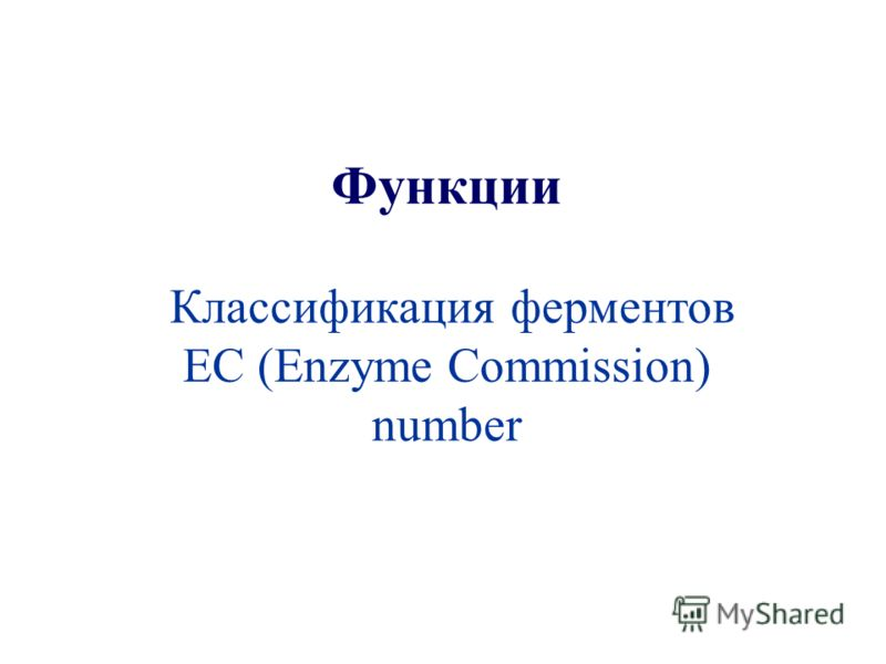 Функции Классификация ферментов EC (Enzyme Commission) number