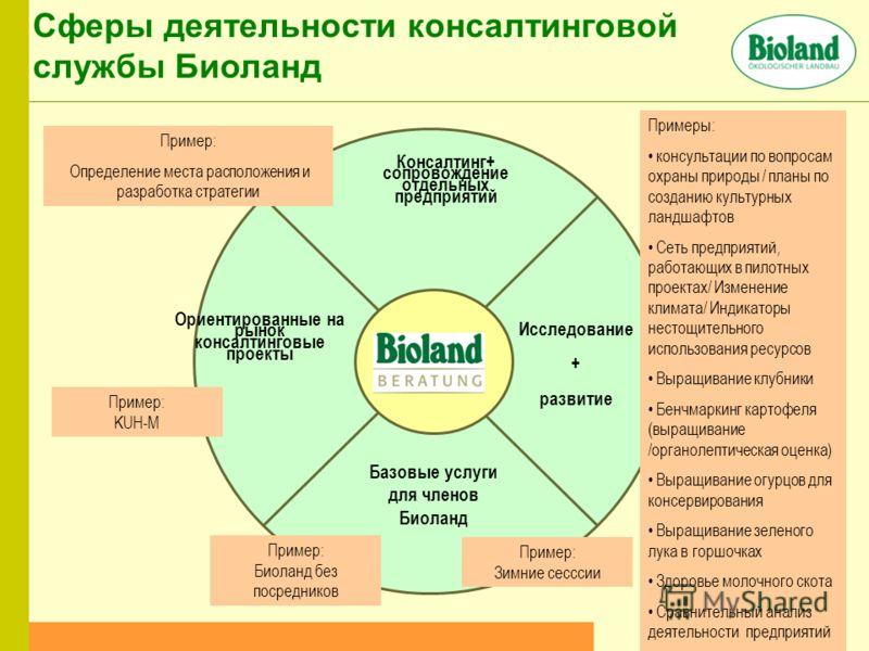 Консалтинг+ сопровождение отдельных предприятий Ориентированные на рынок консалтинговые проекты Исследование + развитие Базовые услуги для членов Биоланд Пример: Биоланд без посредников Сферы деятельности консалтинговой службы Биоланд Пример: Зимние