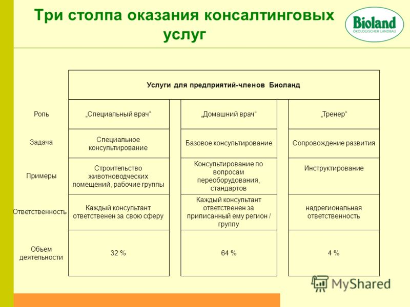 Три столпа оказания консалтинговых услуг 4 %64 %32 % Объем деятельности надрегиональная ответственность Каждый консультант ответственен за приписанный ему регион / группу Каждый консультант ответственен за свою сферу Ответственность Инструктирование