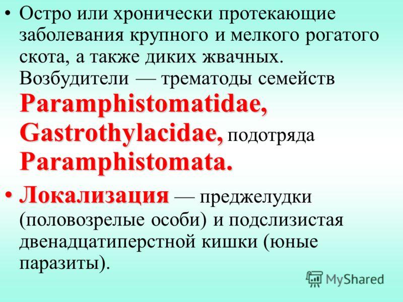 Paramphistomatidae, Gastrothylacidae, Paramphistomata.Остро или хронически протекающие заболевания крупного и мелкого рогатого скота, а также диких жвачных. Возбудители трематоды семейств Paramphistomatidae, Gastrothylacidae, подотряда Paramphistomat