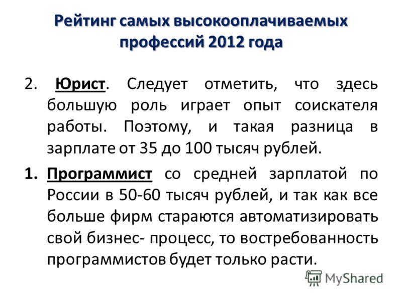 Рейтинг самых высокооплачиваемых профессий 2012 года 2. Юрист. Следует отметить, что здесь большую роль играет опыт соискателя работы. Поэтому, и такая разница в зарплате от 35 до 100 тысяч рублей. 1.Программист со средней зарплатой по России в 50-60