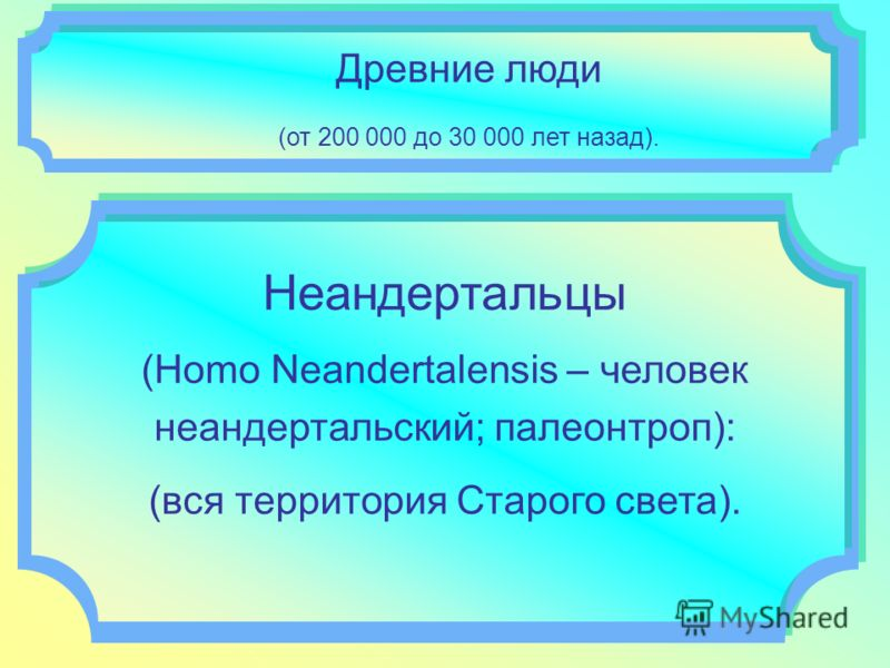 Древние люди (от 200 000 до 30 000 лет назад). Неандертальцы (Homo Neandertalensis – человек неандертальский; палеонтроп): (вся территория Старого света).