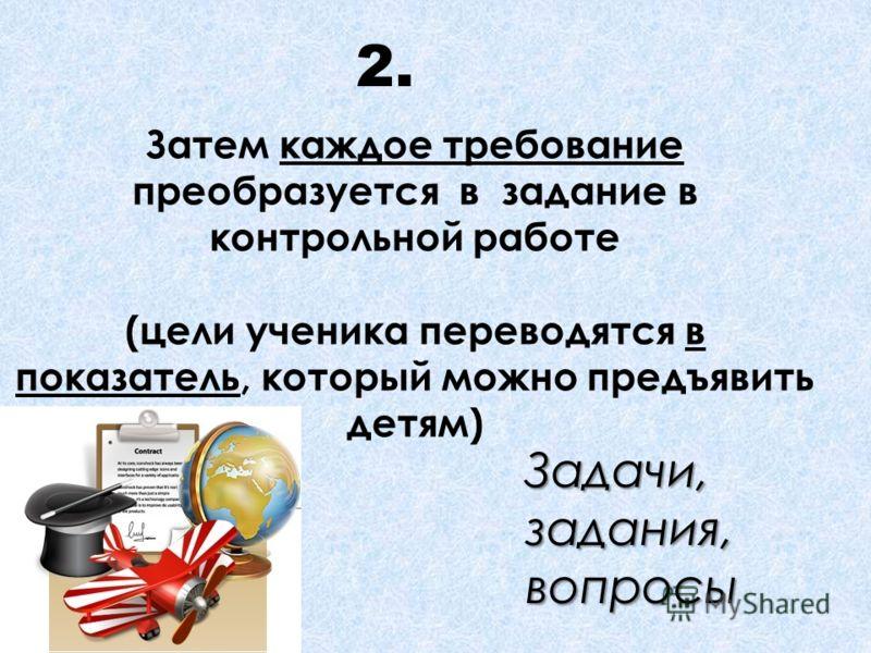 Затем каждое требование преобразуется в задание в контрольной работе (цели ученика переводятся в показатель, который можно предъявить детям) 2. Задачи, задания, вопросы …