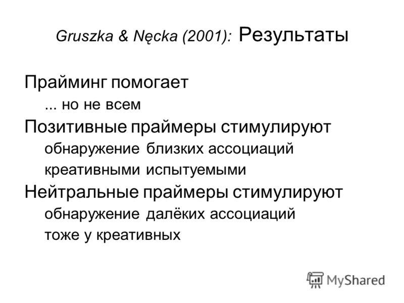 Gruszka & Nęcka (2001): Результаты Прайминг помогает... но не всем Позитивные праймеры стимулируют обнаружение близких ассоциаций креативными испытуемыми Нейтральные праймеры стимулируют обнаружение далёких ассоциаций тоже у креативных