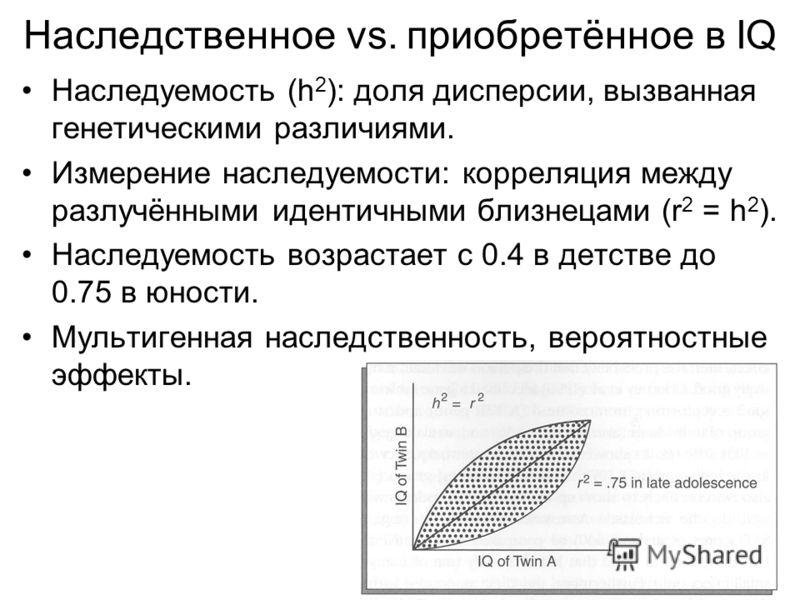 Наследственное vs. приобретённое в IQ Наследуемость (h 2 ): доля дисперсии, вызванная генетическими различиями. Измерение наследуемости: корреляция между разлучёнными идентичными близнецами (r 2 = h 2 ). Наследуемость возрастает с 0.4 в детстве до 0.