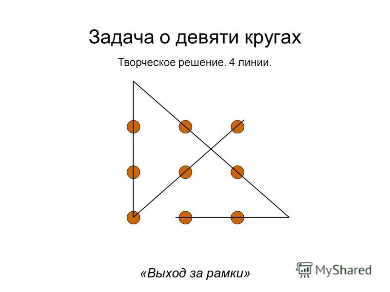 Творческое решение. 4 линии. Задача о девяти кругах «Выход за рамки»