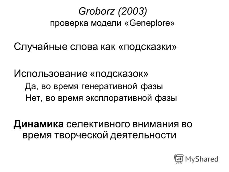 Случайные слова как «подсказки» Использование «подсказок» Да, во время генеративной фазы Нет, во время эксплоративной фазы Динамика селективного внимания во время творческой деятельности Groborz (2003) проверка модели «Geneplore»