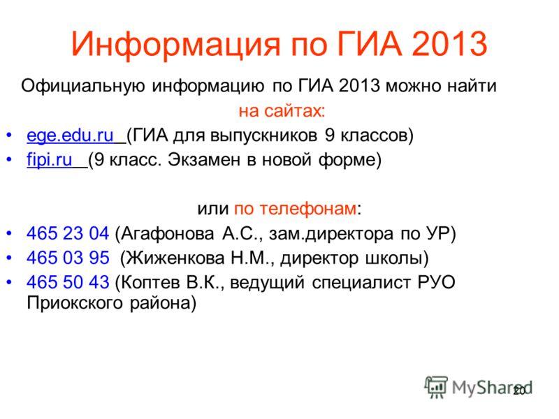 20 Информация по ГИА 2013 Официальную информацию по ГИА 2013 можно найти на сайтах: ege.edu.ru (ГИА для выпускников 9 классов) fipi.ru (9 класс. Экзамен в новой форме) или по телефонам: 465 23 04 (Агафонова А.С., зам.директора по УР) 465 03 95 (Жижен