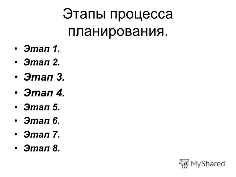 Этапы процесса планирования. Этап 1. Этап 2. Этап 3. Этап 4. Этап 5. Этап 6. Этап 7. Этап 8.