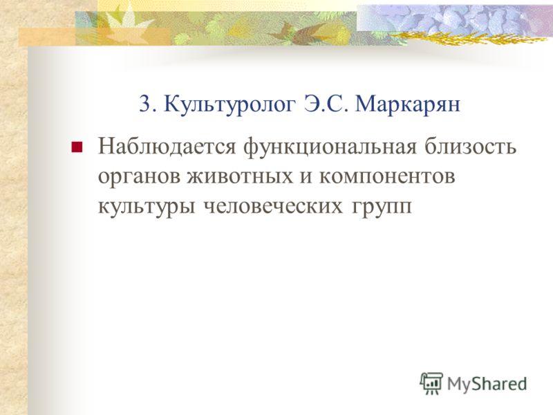 3. Культуролог Э.С. Маркарян Наблюдается функциональная близость органов животных и компонентов культуры человеческих групп