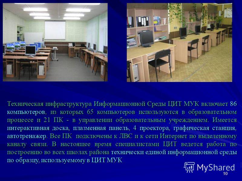10 Техническая инфраструктура Информационной Среды ЦИТ МУК включает 86 компьютеров, из которых 65 компьютеров используются в образовательном процессе и 21 ПК - в управлении образовательным учреждением. Имеется интерактивная доска, плазменная панель,