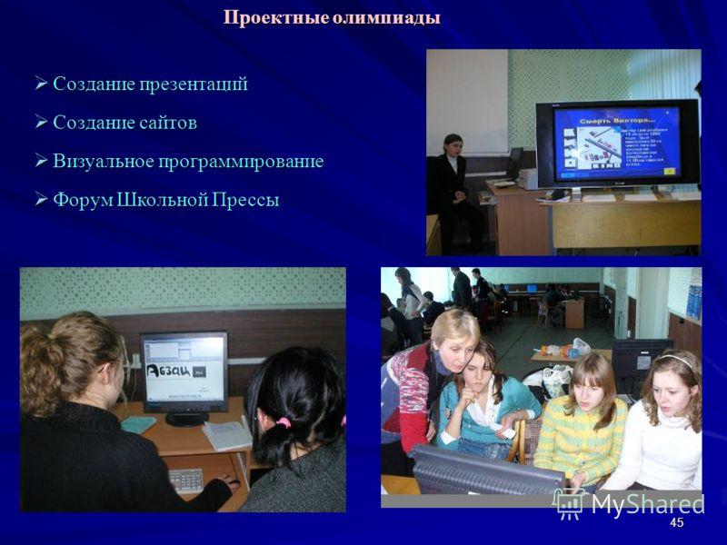 45 Создание презентаций Создание презентаций Создание сайтов Создание сайтов Визуальное программирование Визуальное программирование Форум Школьной Прессы Форум Школьной Прессы Проектные олимпиады