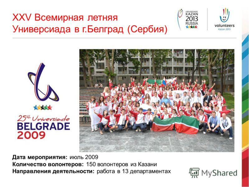 XXV Всемирная летняя Универсиада в г.Белград (Сербия) Дата мероприятия: июль 2009 Количество волонтеров: 150 волонтеров из Казани Направления деятельности: работа в 13 департаментах