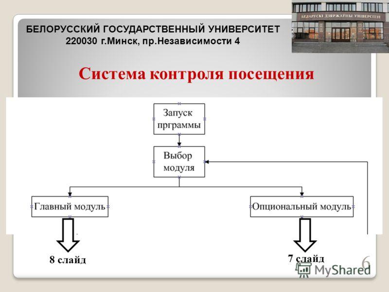 Система контроля посещения 6 БЕЛОРУССКИЙ ГОСУДАРСТВЕННЫЙ УНИВЕРСИТЕТ 220030 г.Минск, пр.Независимости 4 8 слайд 7 слайд