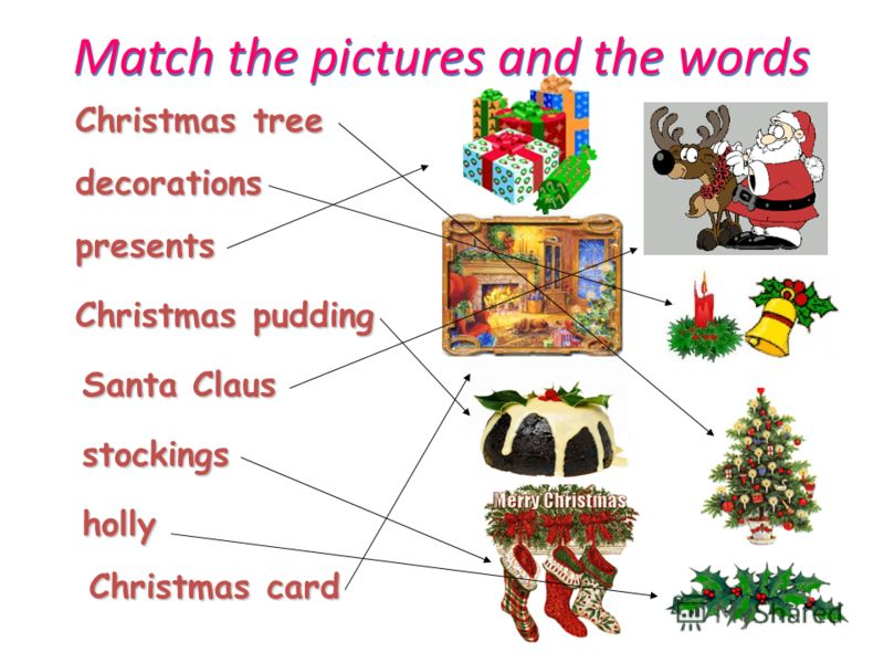 Match the pictures and the words Christmas tree decorations presents Christmas pudding Santa Claus stockings holly Christmas card