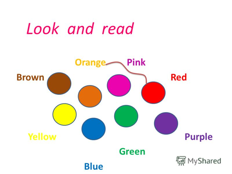 Look and read Orange Pink Brown Red Yellow Purple Green Blue