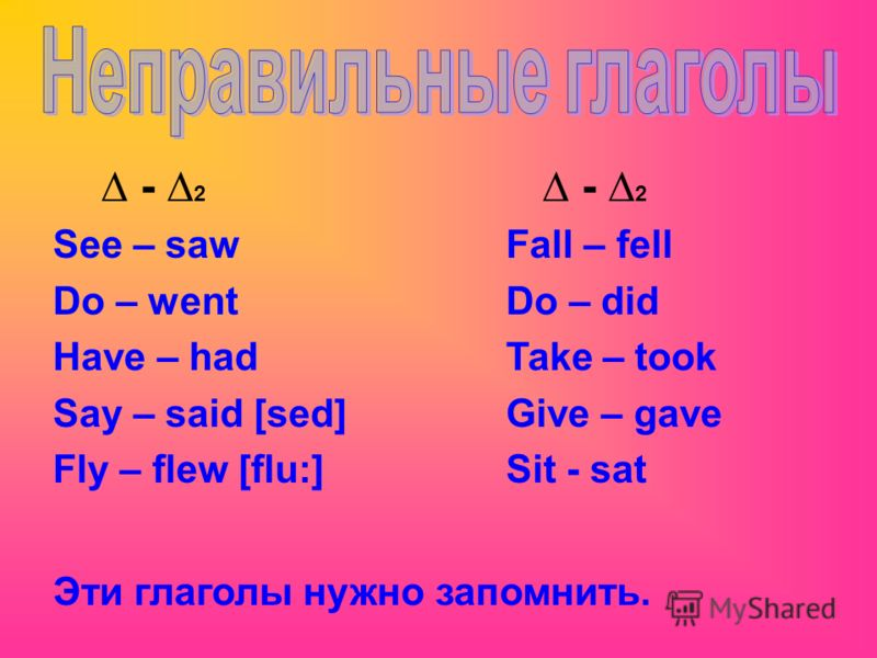 - 2 See – saw Do – went Have – had Say – said [sed] Fly – flew [flu:] - 2 Fall – fell Do – did Take – took Give – gave Sit - sat Эти глаголы нужно запомнить.