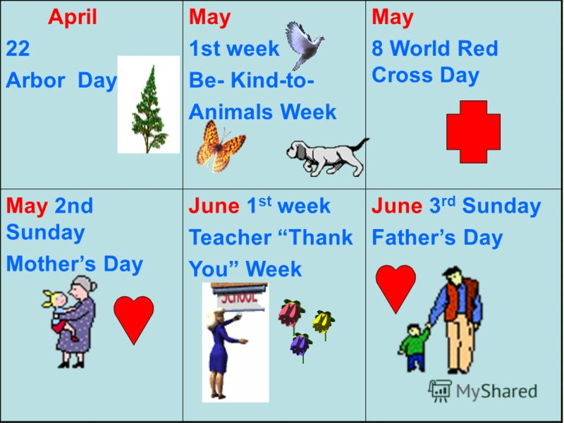 April 22 Arbor Day May 1st week Be- Kind-to- Animals Week May 8 World Red Cross Day May 2nd Sunday Mothers Day June 1 st week Teacher Thank You Week June 3 rd Sunday Fathers Day