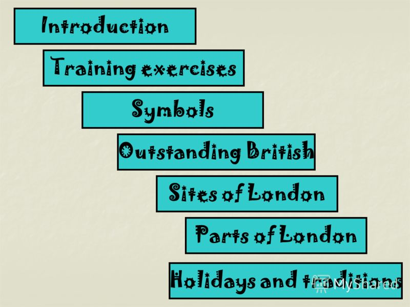 Introduction Training exercises Symbols Outstanding British Sites of London Parts of London Holidays and traditions