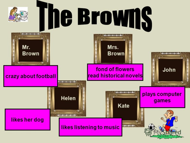 Mrs. Brown Helen Kate John likes her dog crazy about football likes listening to music plays computer games fond of flowers read historical novels Mr. Brown
