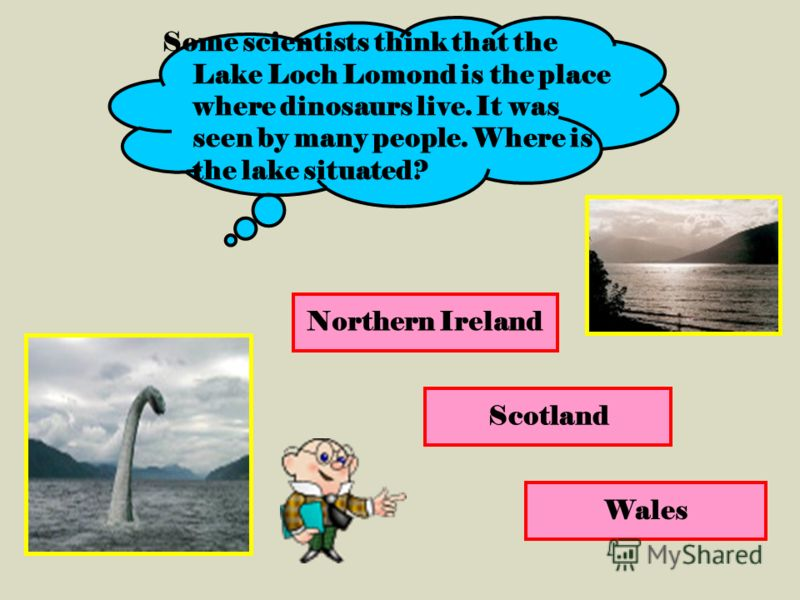 Northern Ireland Scotland Wales Some scientists think that the Lake Loch Lomond is the place where dinosaurs live. It was seen by many people. Where is the lake situated?