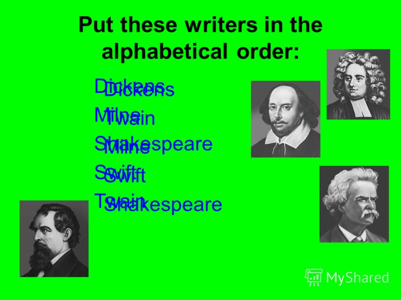 Put these writers in the alphabetical order: Dickens Milne Shakespeare Swift Twain Dickens Twain Milne Swift Shakespeare