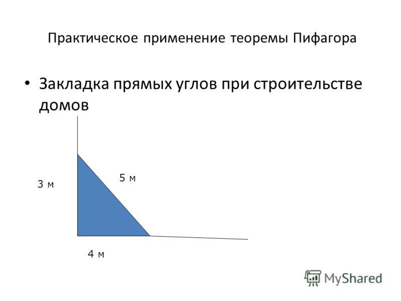 Практическое применение теоремы Пифагора Закладка прямых углов при строительстве домов 3 м 4 м 5 м