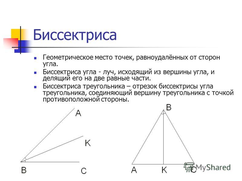 Биссектриса Геометрическое место точек, равноудалённых от сторон угла. Биссектриса угла - луч, исходящий из вершины угла, и делящий его на две равные части. Биссектриса треугольника – отрезок биссектрисы угла треугольника, соединяющий вершину треугол