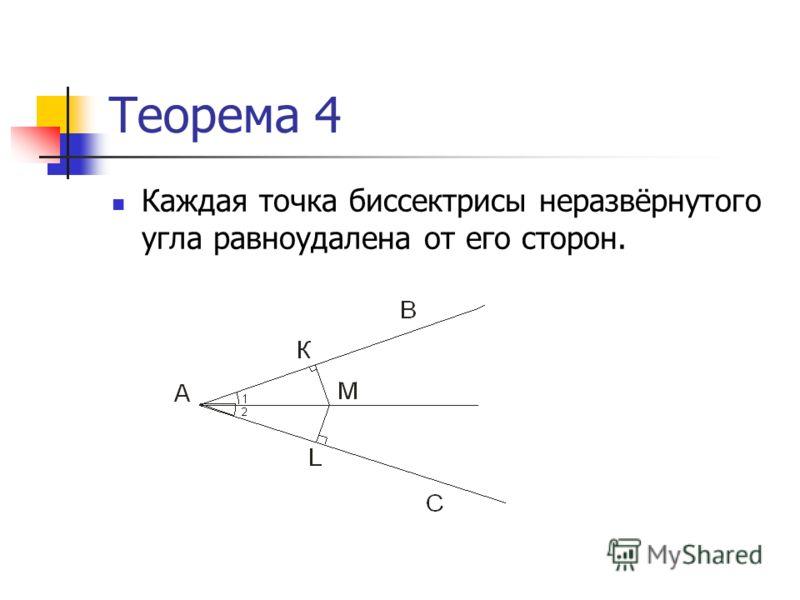 Теорема 4 Каждая точка биссектрисы неразвёрнутого угла равноудалена от его сторон.
