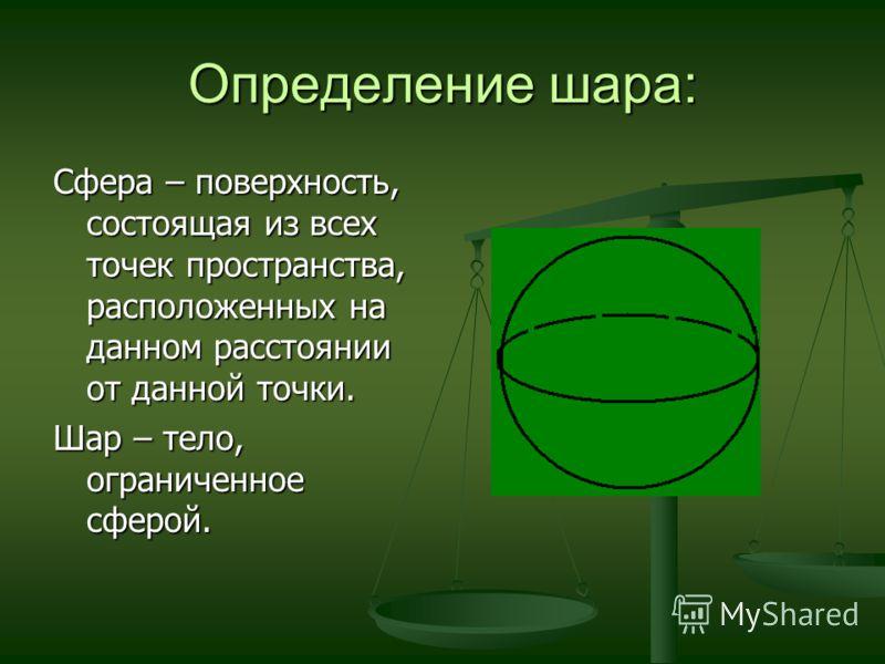 Определение шара: Сфера – поверхность, состоящая из всех точек пространства, расположенных на данном расстоянии от данной точки. Шар – тело, ограниченное сферой.