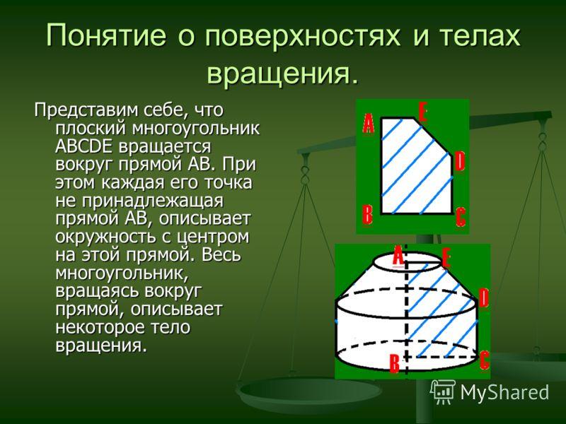 Понятие о поверхностях и телах вращения. Представим себе, что плоский многоугольник АВСDE вращается вокруг прямой АВ. При этом каждая его точка не принадлежащая прямой АВ, описывает окружность с центром на этой прямой. Весь многоугольник, вращаясь во