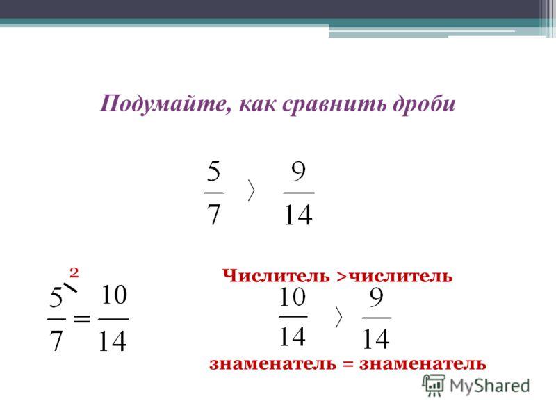 Подумайте, как сравнить дроби 10 2 знаменатель = знаменатель Числитель >числитель