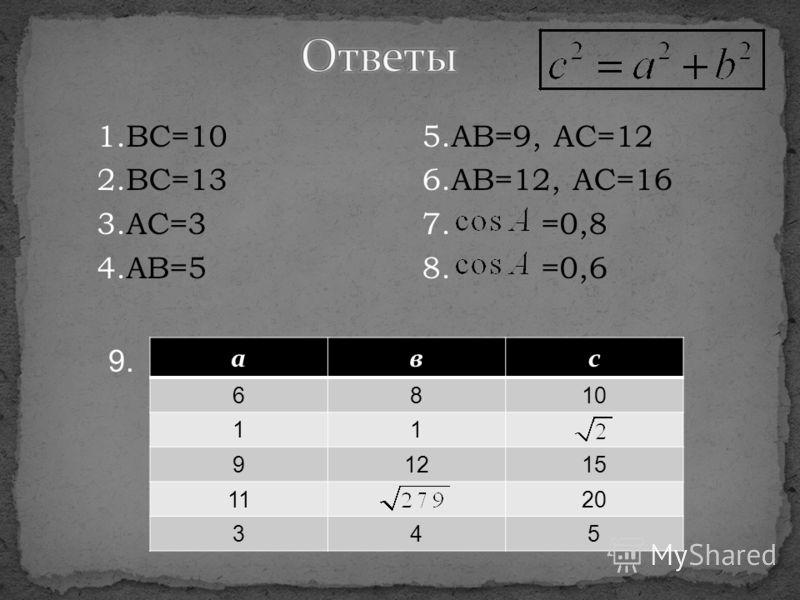 1.BC=10 2.BC=13 3.AC=3 4.AB=5 aвc 6810 11 91215 1120 345 5.AB=9, AC=12 6.AB=12, AC=16 7. =0,8 8. =0,6 9.