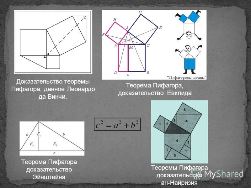 Доказательство теоремы Пифагора, данное Леонардо да Винчи. Теорема Пифагора, доказательство Евклида Теорема Пифагора доказательство Эйнштейна Теоремы Пифагора доказательство ан-Найризия
