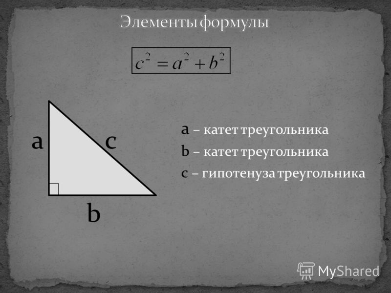 a – катет треугольника b – катет треугольника с – гипотенуза треугольника с b a