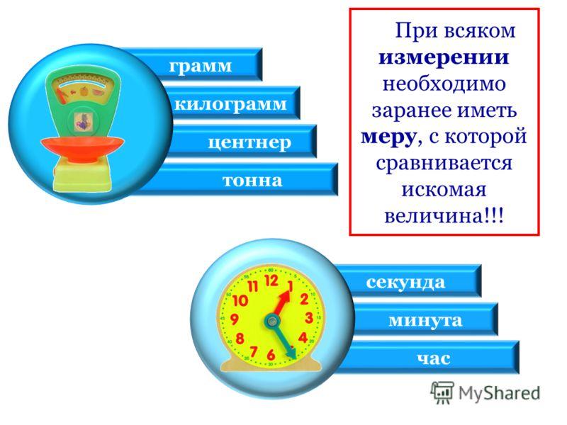 При всяком измерении необходимо заранее иметь меру, с которой сравнивается искомая величина!!! грамм килограмм центнер тонна секунда минута час