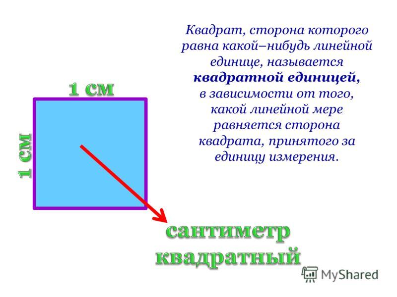 Квадрат, сторона которого равна какой–нибудь линейной единице, называется квадратной единицей, в зависимости от того, какой линейной мере равняется сторона квадрата, принятого за единицу измерения.