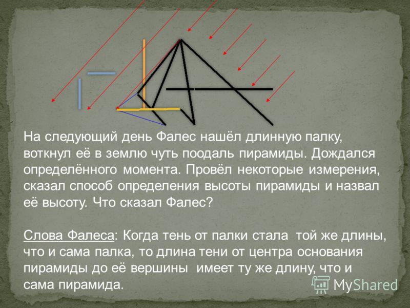 На следующий день Фалес нашёл длинную палку, воткнул её в землю чуть поодаль пирамиды. Дождался определённого момента. Провёл некоторые измерения, сказал способ определения высоты пирамиды и назвал её высоту. Что сказал Фалес? Слова Фалеса: Когда тен