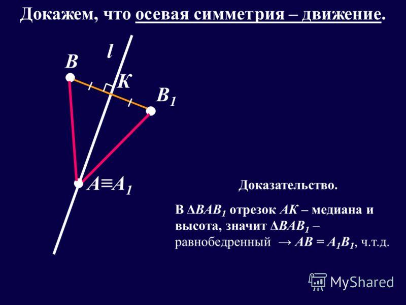 l АА1АА1 В В1В1 К Докажем, что осевая симметрия – движение. Доказательство. В ΔВАВ 1 отрезок АК – медиана и высота, значит ΔВАВ 1 – равнобедренный АВ = А 1 В 1, ч.т.д.