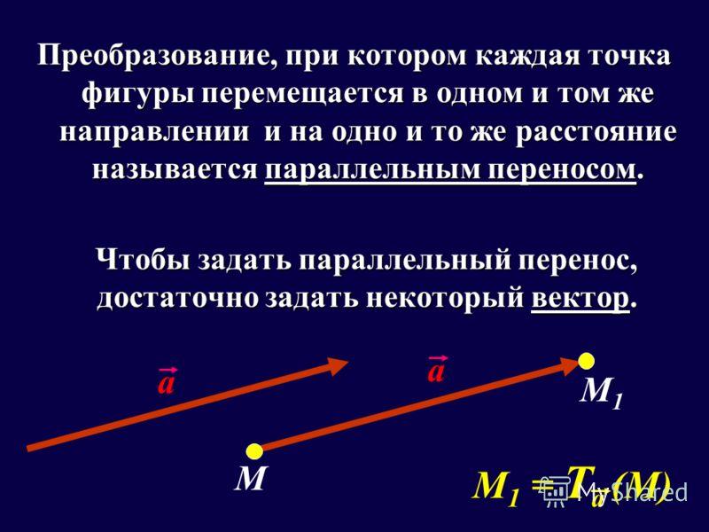 Преобразование, при котором каждая точка фигуры перемещается в одном и том же направлении и на одно и то же расстояние называется параллельным переносом. Чтобы задать параллельный перенос, достаточно задать некоторый вектор. Чтобы задать параллельный
