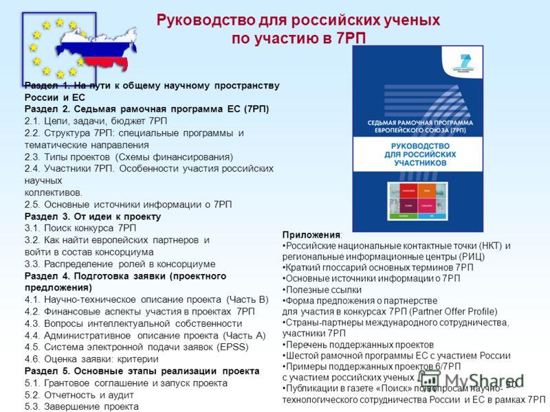 30 Руководство для российских ученых по участию в 7РП Раздел 1. На пути к общему научному пространству России и ЕС Раздел 2. Седьмая рамочная программа ЕС (7РП) 2.1. Цели, задачи, бюджет 7РП 2.2. Структура 7РП: специальные программы и тематические на