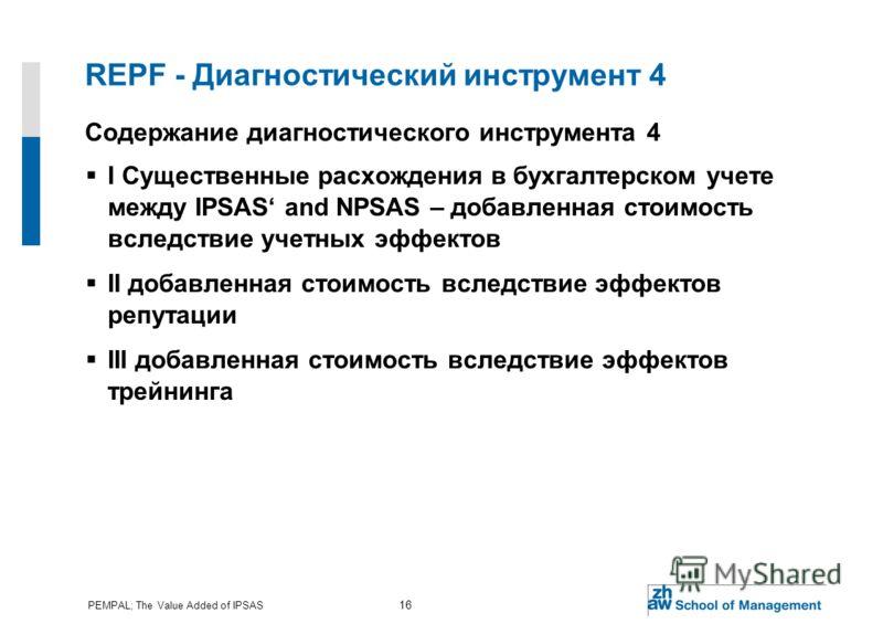 PEMPAL; The Value Added of IPSAS 16 REPF - Диагностический инструмент 4 Содержание диагностического инструмента 4 I Существенные расхождения в бухгалтерском учете между IPSAS and NPSAS – добавленная стоимость вследствие учетных эффектов II добавленна