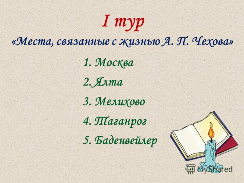 I тур «Места, связанные с жизнью А. П. Чехова» 1. Москва 2. Ялта 3. Мелихово 4. Таганрог 5. Баденвейлер