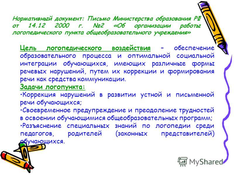 Нормативный документ: Письмо Министерства образования РФ от 14.12 2000 г. 2 «Об организации работы логопедического пункта общеобразовательного учреждения» Цель логопедического воздействия – обеспечение образовательного процесса и оптимальной социальн