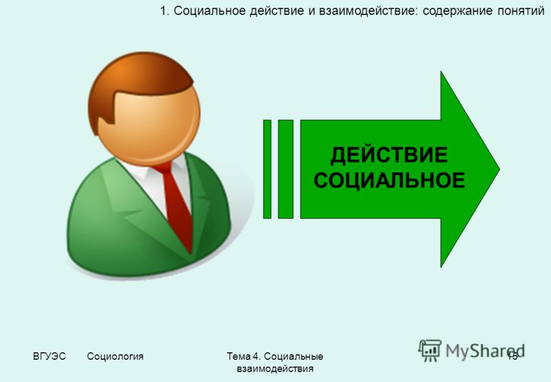 ВГУЭС СоциологияТема 4. Социальные взаимодействия 15 1. Социальное действие и взаимодействие: содержание понятий ДЕЙСТВИЕ СОЦИАЛЬНОЕ