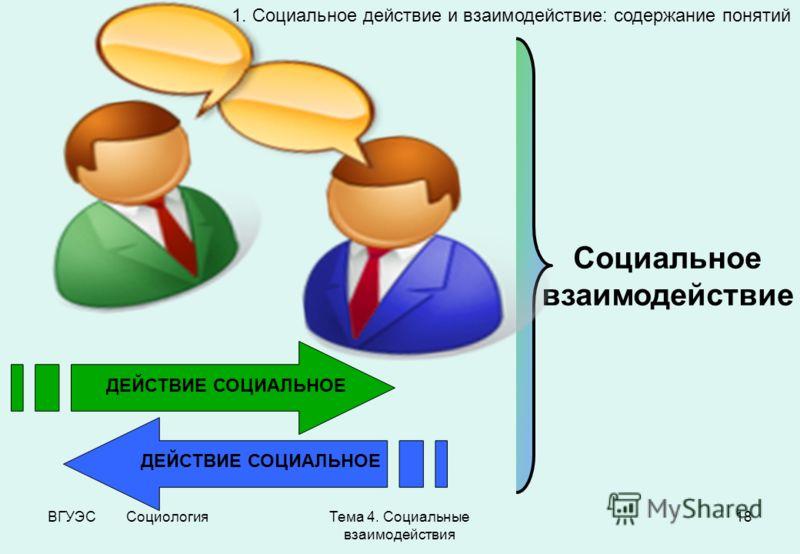 ВГУЭС СоциологияТема 4. Социальные взаимодействия 18 ДЕЙСТВИЕ СОЦИАЛЬНОЕ Социальное взаимодействие 1. Социальное действие и взаимодействие: содержание понятий